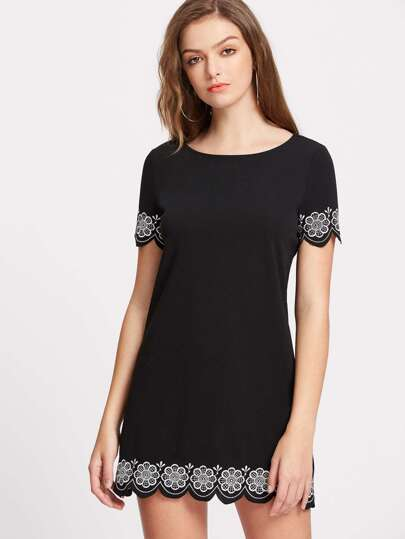 Flower Embroidered Scalloped Hem Dress