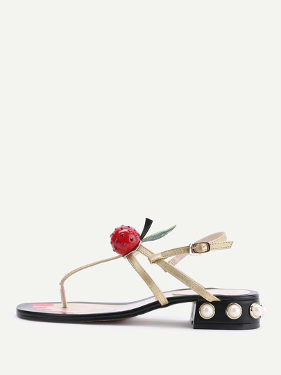 Gold Faux Pearl Heeled Thong Sandals With Cherry