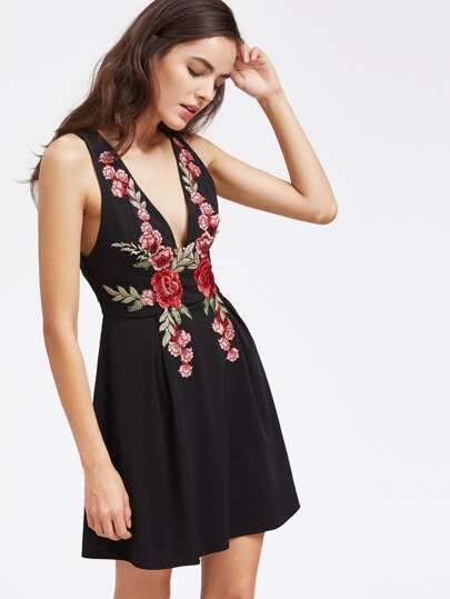Deep-Plunge Neck Embroidery V Back A Line Dress With Zipper
