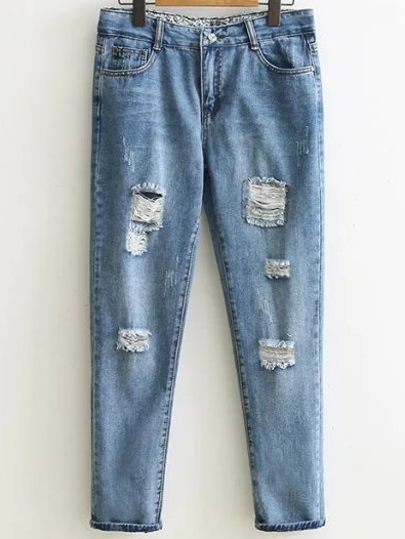 Distressed Detail Boyfriend Jeans