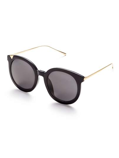 Black Frame Metal Arm Grey Lens Sunglasses