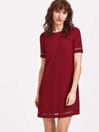Wine Red Mesh Insert Tunic Dress