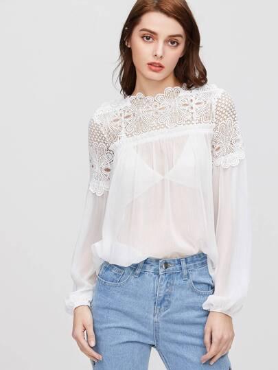 Crochet Shoulder Lantern Sleeve Sheer Top