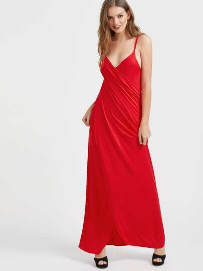 Ruched Surplice Front Backless Draped Cami Dress