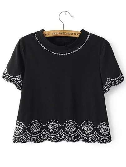 Black Embroidery Short Sleeve Top