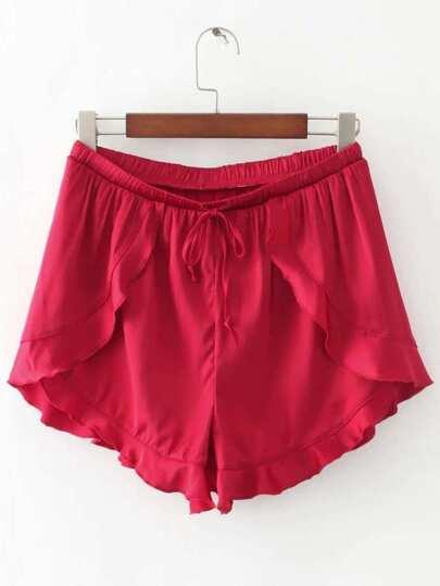 Shorts de ribete con volantes con cordón - rojo
