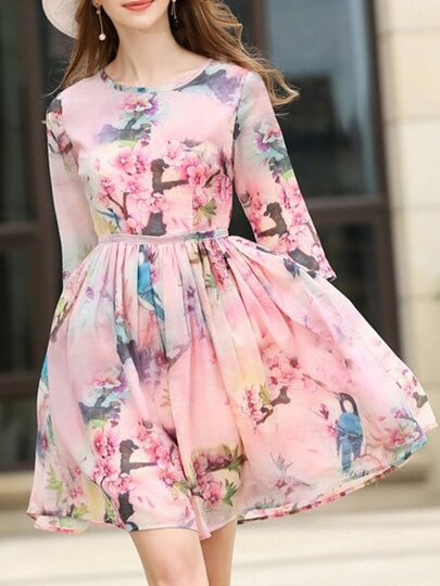 Pink Flowers Print Pleated Dress