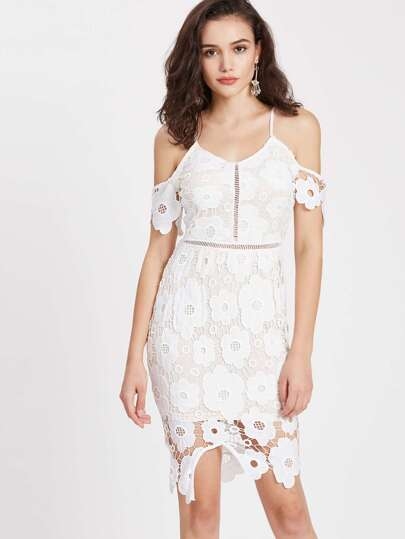 Cold Shoulder Lace Overlay Sheath Dress