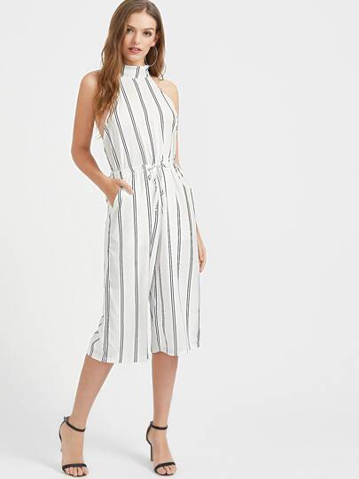 Halterneck Vertical Striped Tie Waist Open Back Romper