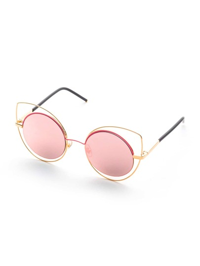 Double Frame Pink Lens Sunglasses