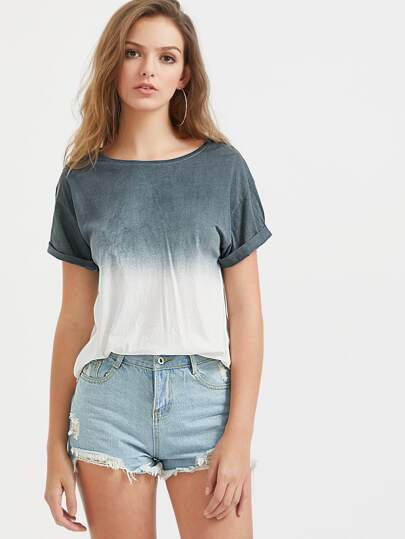 Ombre Drop Shoulder Roll Cuff Tee