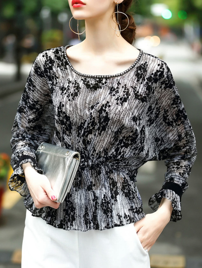 Blusa irregular de cintura elástica-negro