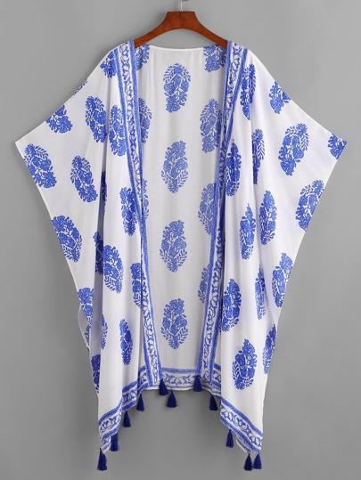 Kimono estilo murciélago con ribete con borlas