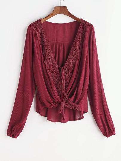 Contrast Crochet Twisted Drape Front Tassel Tie Blouse