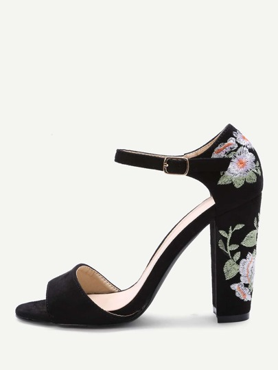 Black Flower Embroidery Chunky Heel Sandals