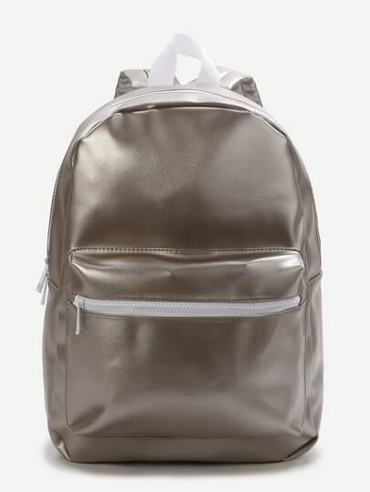 Silver Front Pocket PU Backpack