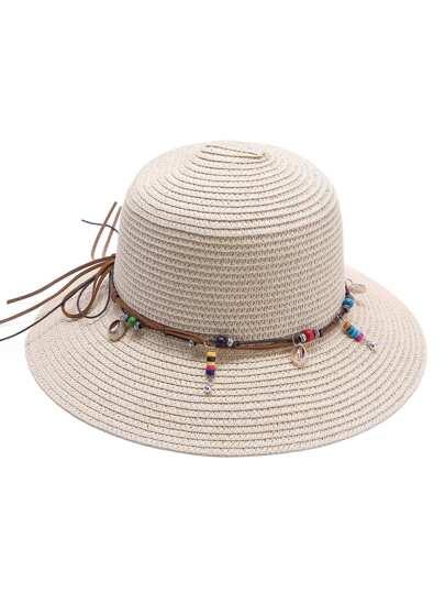 Abricot perlé, détail, paille, chapeau