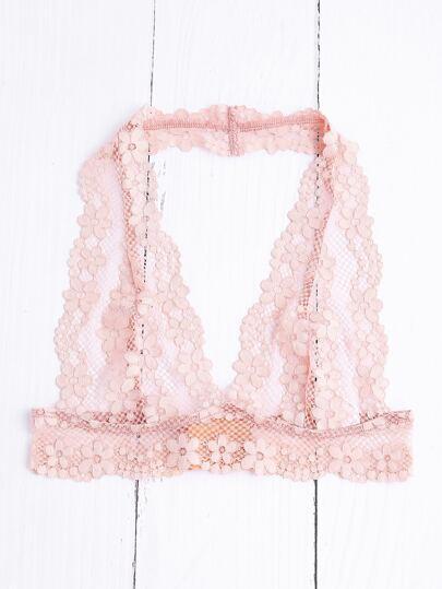 Sujetador de cuello halter con encaje floral - rosa