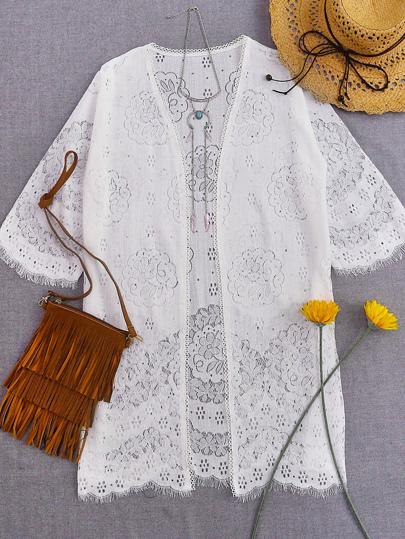 Weiße lösliche Blumenwimpern-Spitze-Abdeckung oben