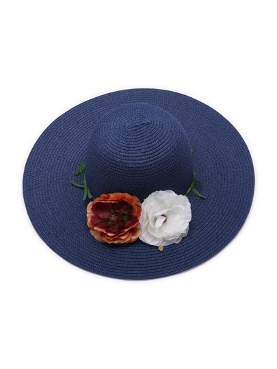 Blue Beach Style Straw Hat With Pink Beach Style Straw Hat With Random Color Flower