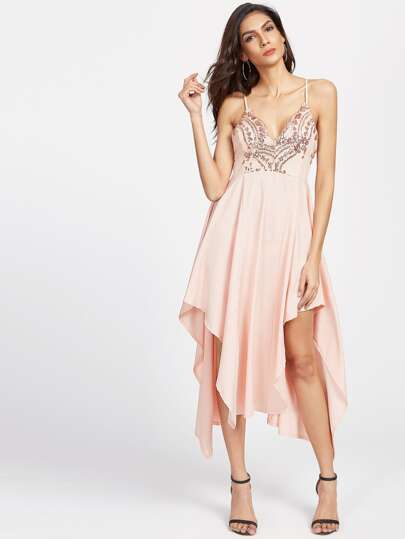 Pink Criss Cross Back Sequin Asymmetric Hem Slip Dress