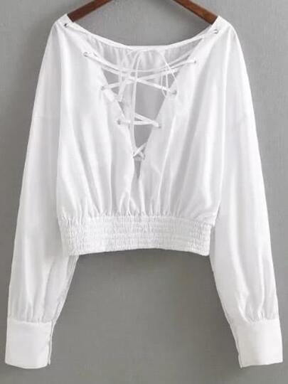 Blusa con cuello en V y tiras cruzadas - blanco