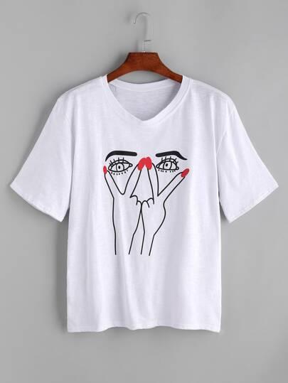 White Graffiti Print T-shirt