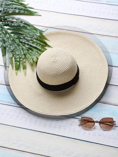 Khaki Wide Trim Straw Hat