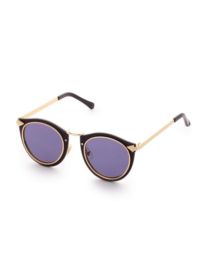 Black And Gold Frame Round Lens Sunglasses