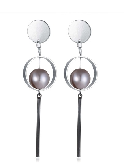 Faux Pearl And Contrast Bar Drop Earrings
