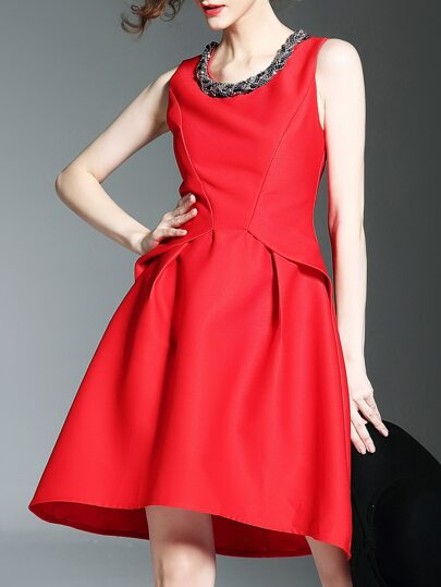 Red Crew Neck Beading High Low Dress
