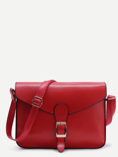 Contrast Trim Buckled Flap Bag