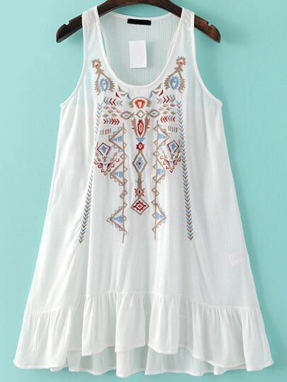 White Embroidery Ruffle Hem Tank Dress
