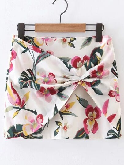 All Over Floral Print Skirt
