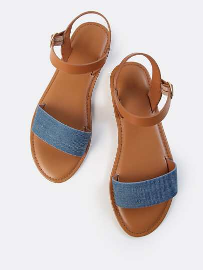 Single Denim Ankle Sandals DENIM
