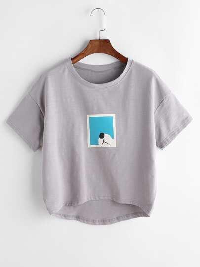 Tee-shirt gris trapèze imprimé de l'animation