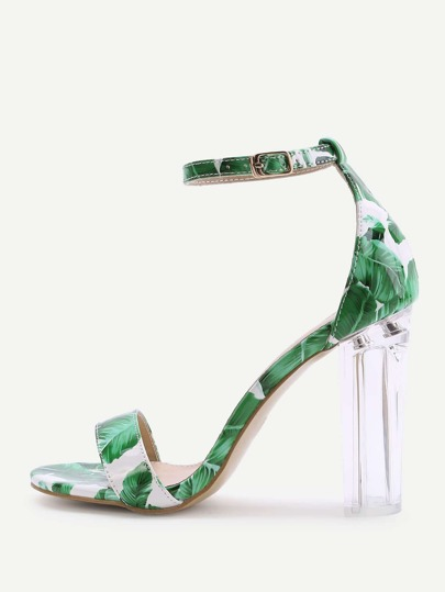 Green Leaf Print Two Part Heeled Sandals