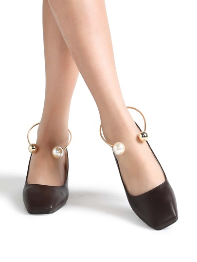 Coffee Square Toe PU Chunky Heeled Shoes