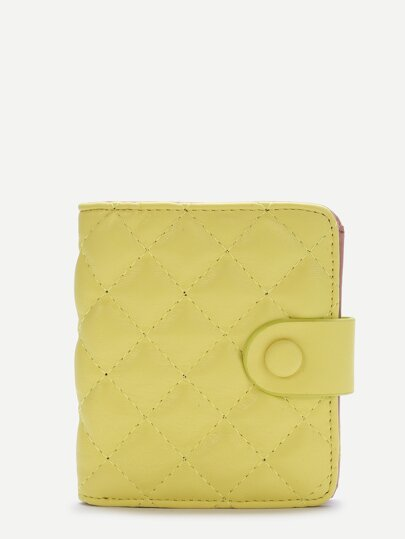 Yellow Fold Snap Button Wallet