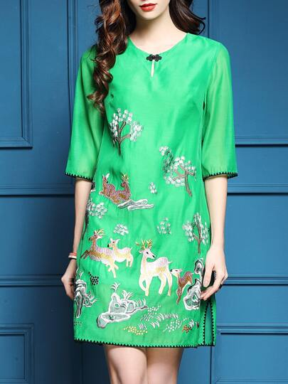Green Animals Embroidered Shift Dress