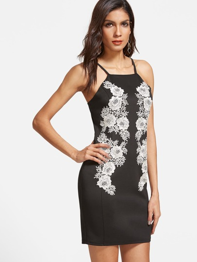 Crochet Flower Applique Sheath Cami Dress