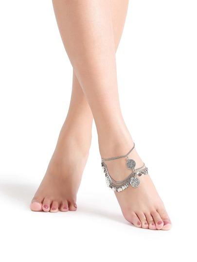 Silver Coin Trim Vintage Anklet