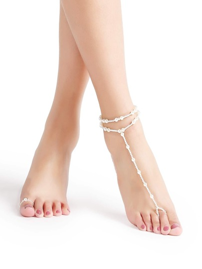 Weiße Perlenfußkette