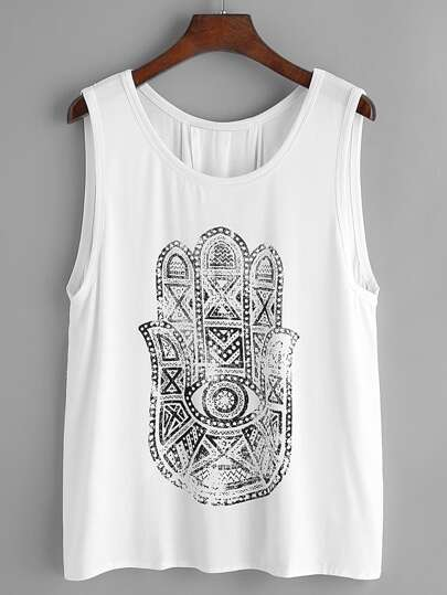 Printed Overlap Back Tank Top