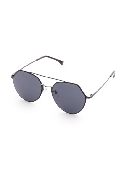 Black Frame Double Bridge Flat Lens Sunglasses