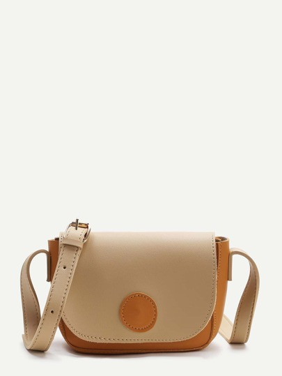 Color Block PU Crossbody Bag