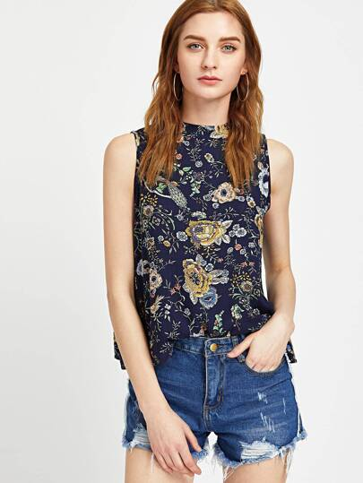 Florals Mock Neck Slit Back Tank Top