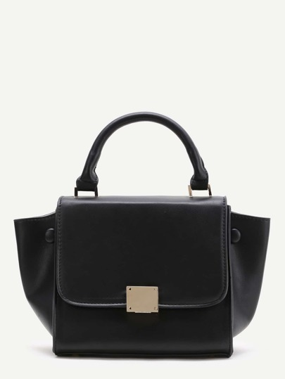 Black Zipper Back PU Satchel Bag