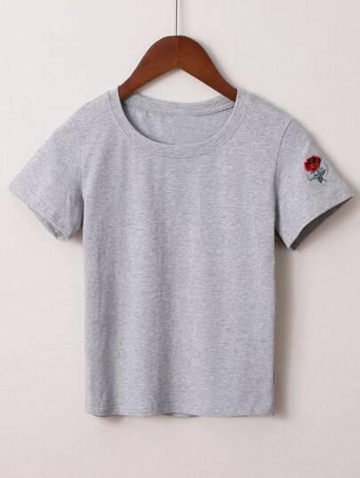 T-shirt de broderie de fleur grise