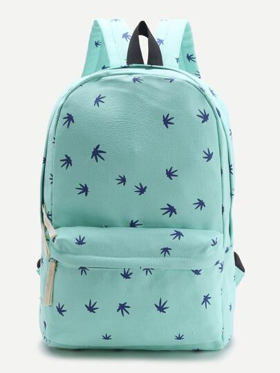 Blue Leaf Print Casual Backpack